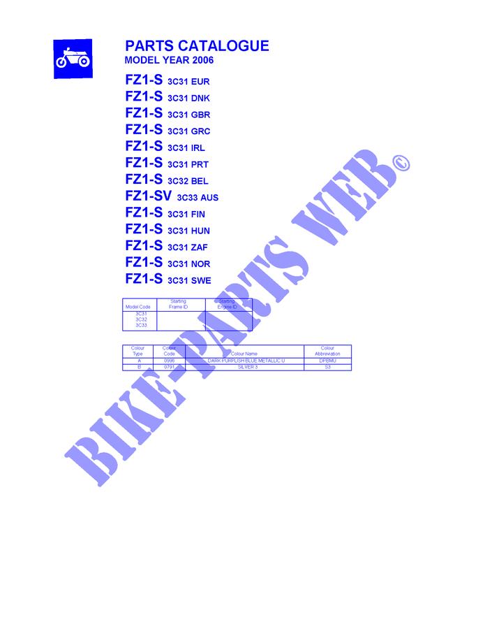 Catalogue For Yamaha Fz1s 2006 Yamaha Genuine Spare Parts Catalogue