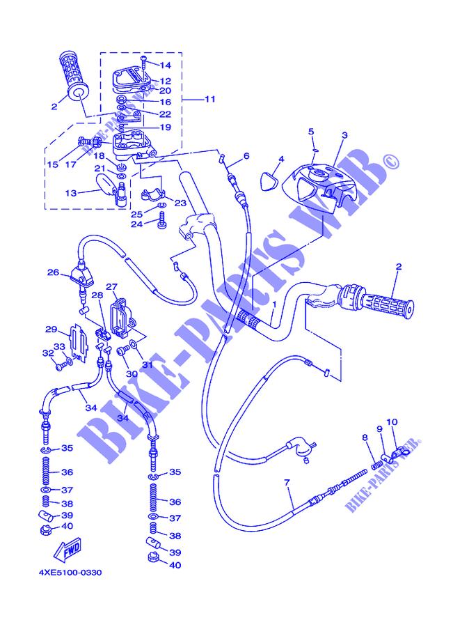 HANDLEBAR & CABLES for Yamaha YFM250 2000 # YAMAHA - Genuine