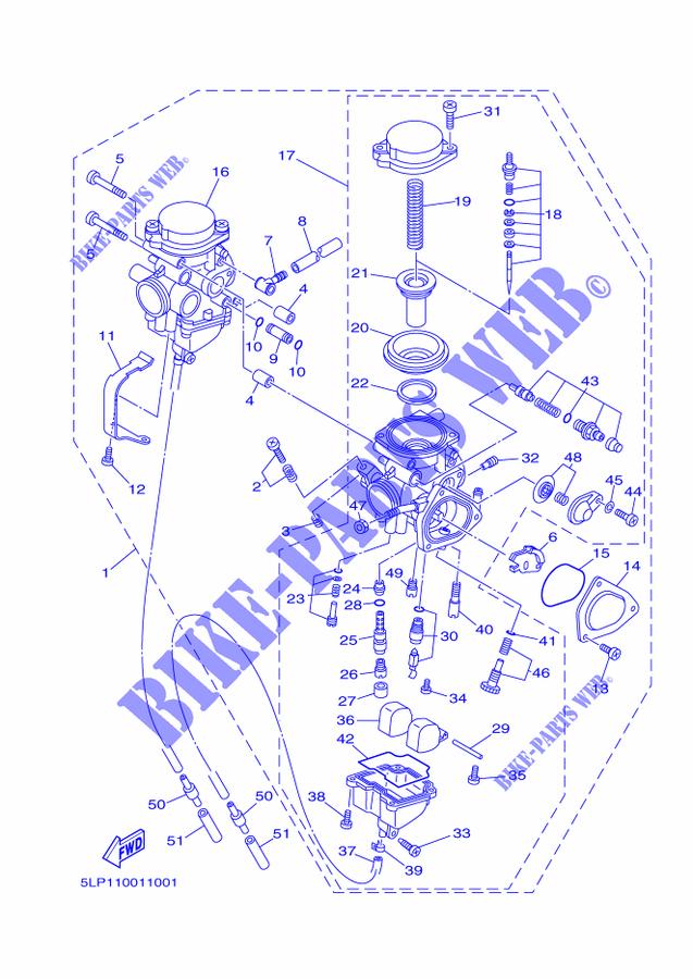 CARBURETOR for Yamaha RAPTOR 660 2001 # YAMAHA - Genuine Spare Parts