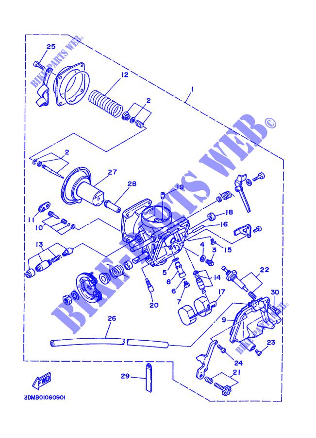 CARBURETOR for Yamaha VIRAGO 250 1998 # YAMAHA - Genuine Spare Parts