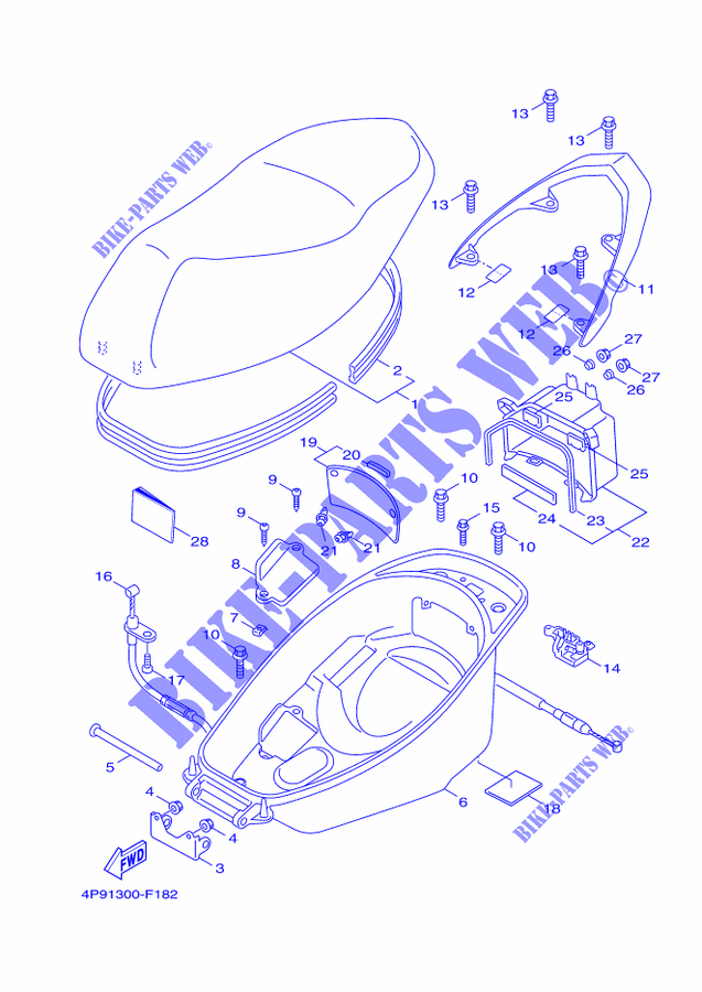 SEAT for Yamaha CYGNUS X 2009 # YAMAHA - Genuine Spare Parts