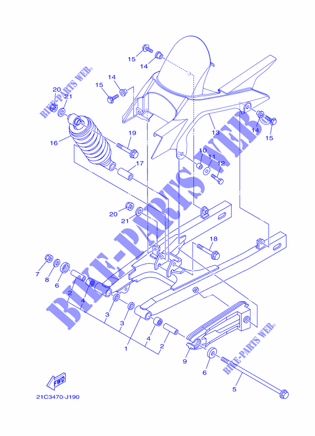 Swingarm Shock Absorber For Yamaha Fz16 2010 Yamaha Genuine