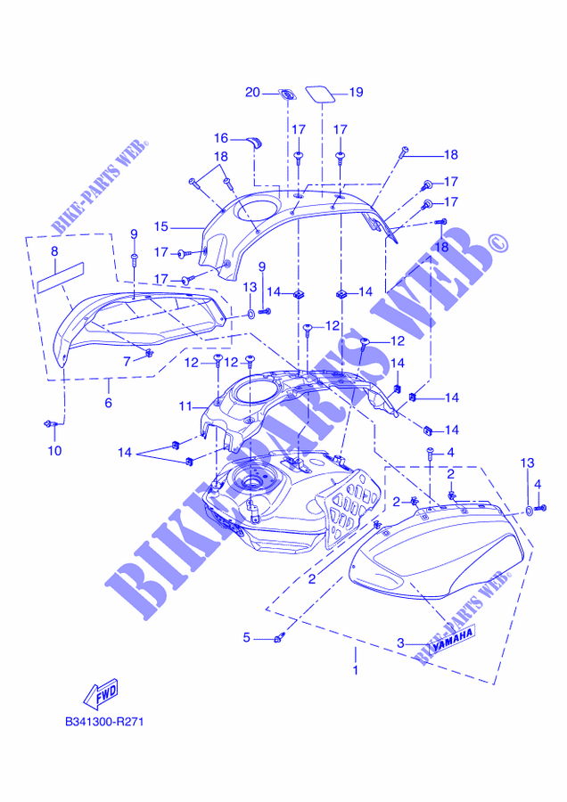 2 3D Side Protection Tank kompatibel f/ür Motorrad XSR 700 Yamaha XSR700