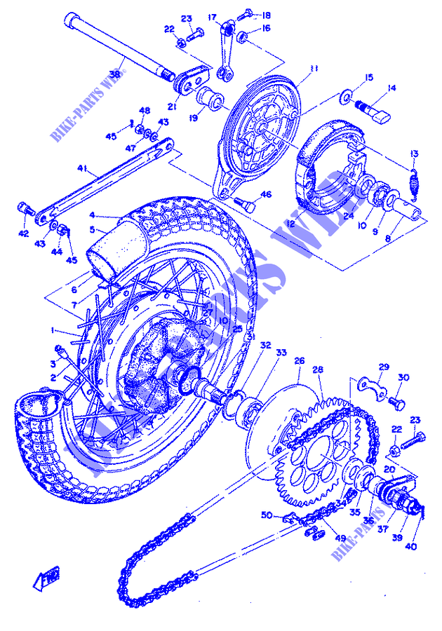 REAR WHEEL for Yamaha RD 350 1973 # YAMAHA - Genuine Spare Parts