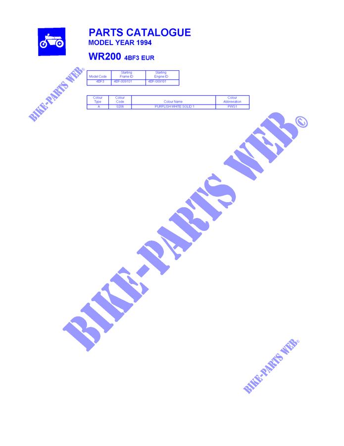 Catalogue For Yamaha Wr200 1994