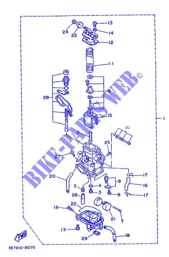 carburetor for yamaha dt200r 1988 yamaha genuine spare johnson outboard wiring diagram yamaha dt200r wiring diagram #4