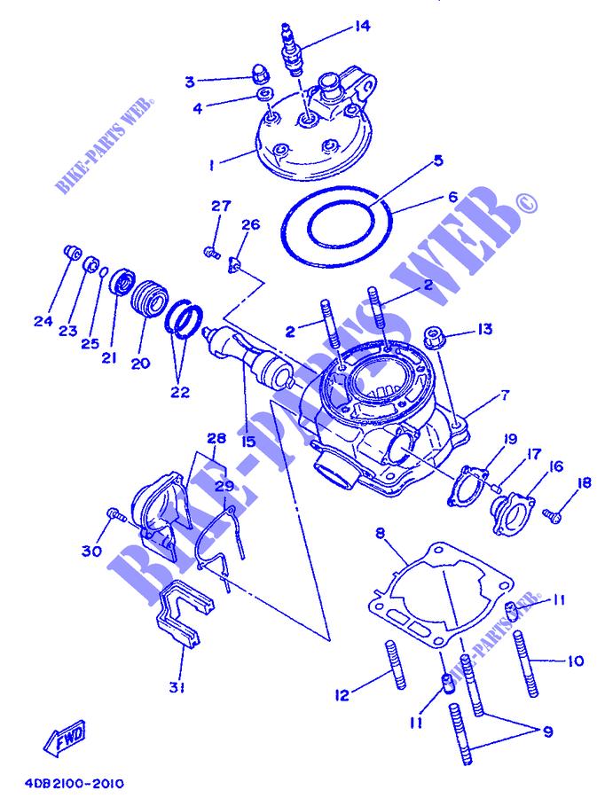 Cylinder Head Yz125 Yz 1992 125 Moto Yamaha Motorcycle Yamaha