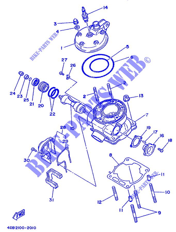 Cylinder Head Yz125 Yz 1993 125 Moto Yamaha Motorcycle Yamaha